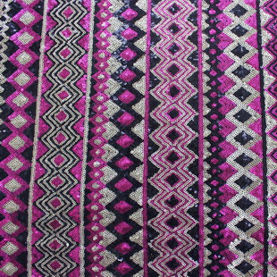 Ethnic Style 3MM Colorful Spangle Mesh Fabric Paillette Embroidery Lace For Tops